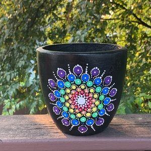 Hand Painted Chakra Mandala Planter Flower Pot